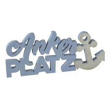 Schriftzug ANKERPLATZ blau 38x17cm Holz Anker Dekoobjekt Buchstaben maritim Deko