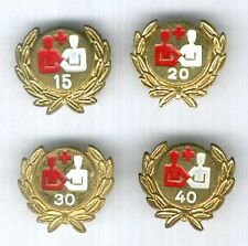 AUSTRIA. Red Cross badges for 15, 20, 30 and 40 blood donations