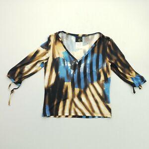 Just Cavalli Womens Shirt UK 10 Short Sleeve Brown Regular Abstract Elastane