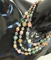 Vintage 1950s  Beaded 3 String Necklace Multi Colour  Deadstock   Kitsch   330 G