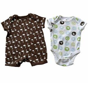 Old Navy Baby Boys 0-3M Ocean Allover Print Cotton Bodysuit & Romper 2 Piece Set