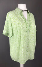 M&S Size 22 Blouse Top Button Frill Shirt Green Leaf Pattern Cool Loose Light