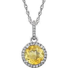 Diamante & CITRINO PIEDRA DE NACIMIENTO Collar en 14k ORO BLANCO (1 / 10ct. TW