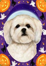 Lhasa Apso White Halloween Howls Flag