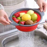 Neue Zusammenklappbares Silikon Seiher Sieb Küche Obst Filterkorb O6K5