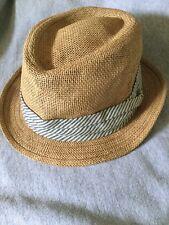 J Crew Straw Chambray Trilby Fedora Hat Men's Size S/M