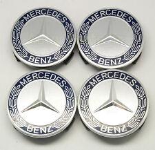 4  Cache Jantes moyeux Centre de roue - Boulon contour bleu- Mercedes Benz 75mm