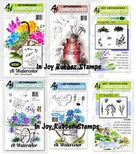 Art Impressions Watercolor Stamp Set Flowers Foliage, Trees, Birdhouse, Dogs