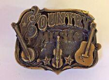 Vintage Country Music Statement Belt Buckle Brass Banjo Violin Guitar Fun Stars