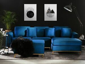 Modern Navy Blue Velvet Sectional Sofa with Ottoman Gold Left Hand Oslo Smart