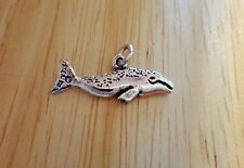 Sterling Silver 22x8mm 2 sided Fish Ocean Grey or Blue Whale Charm!