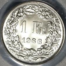 1966 PCGS MS 68 Switzerland 1 Franc Mint State Swiss Coin (20102001C)