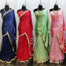 Womens Ethnic Satin Half Style Saree Bottom Net Sequin Party Wear Wedding Sari