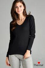 Thermal V-NECK NECK Long Sleeve Basic Top Womens T-Shirt Plain Soft Waffle knit
