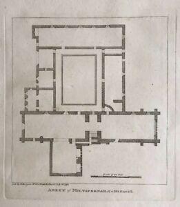 1793 Antique Print; Multyfarnham Friary Plan, Co. Westmeath, Ireland by Grose