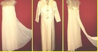 ~~Vtg Ivory Grecian Silk Dress w/Satin Coat Sz M duster/jacket Train~~wedding
