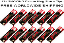 12x Smoking Deluxe King Size Slim Rolling Paper + Filter Tips - HALF BOX -