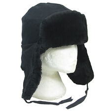 Genuine Soviet Army BLACK FAUX FUR USHANKA - 57cm - Warm Winter Cossack Cap Hat