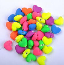 20PCS Fluorescent Acrylic Heart Spacer Beads Jewelry Making Charms 14mm