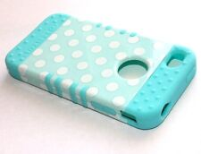 iPHONE 4 4G 4S - HARD & SOFT RUBBER HYBRID ARMOR CASE TURQUOISE BLUE POLKA DOTS