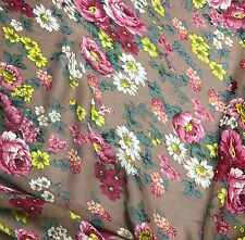 Chiffon Fabric - Taupe with Pink Roses 1/3 yard remnant