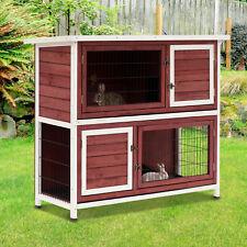 Elevated Rabbit Hutch Bunny Cage 2-Tier Wooden Small Pet Habitat w/ Tray Ramp