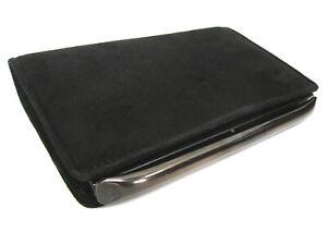 DE VECCHI by HAMILTON HODGE ITALY black suede clutch bag, top-frame, unused VTG