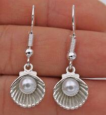 925 Silver Plated Hook -1.4'' Pearl Shell Simple Drop Elegant Women Earrings#17