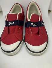 Kids Polo Ralph Lauren Boy Girls Red Canvas Shoes Polo Spell Out