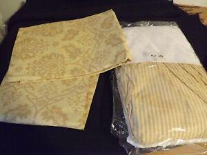 3PC SET NEW KING BEDSKIRT dust ruffle & 2 KING SHAMS gold stripes & florals NIP