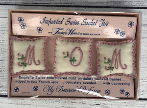 "Vintage Imported Swiss Sachet Trio Treasure Masters Derry, NH ""MOM"" Perfume"