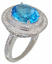14k White Gold Oval Cut Blue Topaz And Diamonds Engagement Ring 5.50ctw