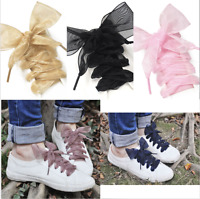 Women Shoelaces Flat Silk Satin Ribbon Laces Sneakers Shoestrings Sport Shoes