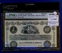 Union Bank of Australia (Sydney) 1892 10 Pounds Printers Proof PMG62 UNC MVR2c