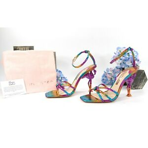 Sophia Webster Flo Flamingo Rainbow Metallic Leather Heels Size 39 NIB