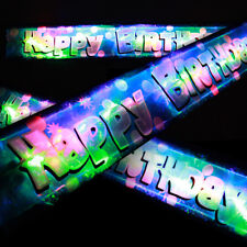 FLASHING BLUE LED HAPPY BIRTHDAY BANNER PARTY DECORATIONS LED LIGHT UP BALLOONS