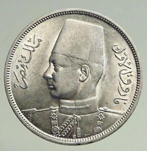 1937 1356AH EGYPT with Sudan King Farouk Genuine Silver 10 Piastres Coin i94734