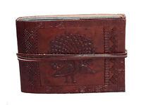 Fotoalbum Klein 10x15 Leder Indien Schwarze Seiten Handmade Vintage Pfau Prägung