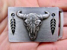 Vtg BUFFALO SKULL Belt Buckle 1998 Siskiyou Bison Southwest ART Pewter RARE VG++