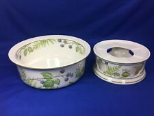 """Villeroy & Boch FORSA Large 9"""" SERVING BOWL & CHINA WARMER Berries Leaves 2 pc."""