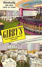 Gibby'S Chicago, Illinois Restaurant & Bar Interior Vintage Postcard ca 1950s