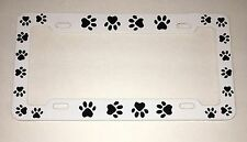 Animal Dog Cat PAW PRINTS White with Black Paws METAL License Plate Frame