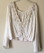 Free People Women's Embroidered Cotton Top/Blouse Ivory, Long Sleeves, Size L