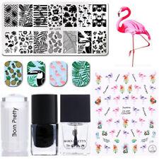 Nail Stamping Templates Stamp Polish Stamper Scraper 3D Sticker Summer Theme Kit
