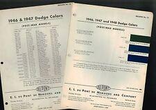 "1948 DODGE ""New"" for '48 Color Chip Paint Sample Chart Brochure: Post-War"