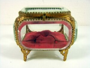 Antique Victorian Jewellery Trinket Box Casket Belleved Glass Four Feet Original