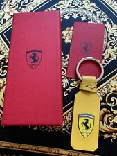 Genuine Ferrari Yellow LEATHER KEYRING WITH SHIELD Extremely RARE Brand NEW