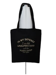 Large Canvas Knitting Tote Bag, In my defence.....the Yarn Shop was Open