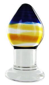 Pranava Body Safe Glass Anal Butt Plug by Prisms Erotic Glass w/ Storage Pouch
