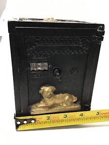 Antique J.E. Stevens Circa 1885 Barking Watchdog Mechanical Safe Bank